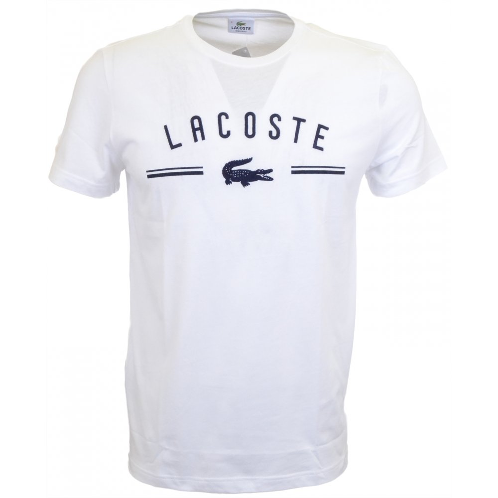 7a6025229c Lacoste Embroidered Round Neck White T-Shirt - Clothing from N22 ...