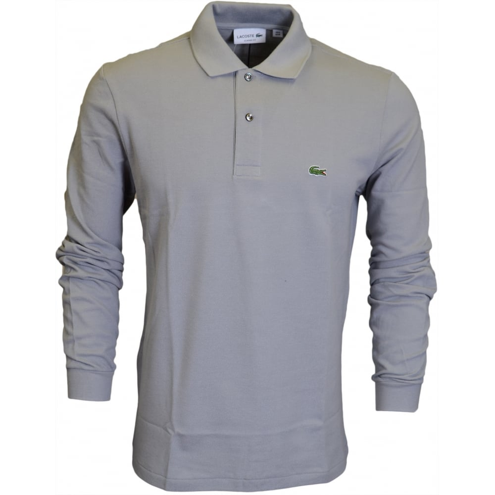 9e52474d498a Lacoste L1312 Long Sleeve Pique Grey Polo - Clothing from N22 ...