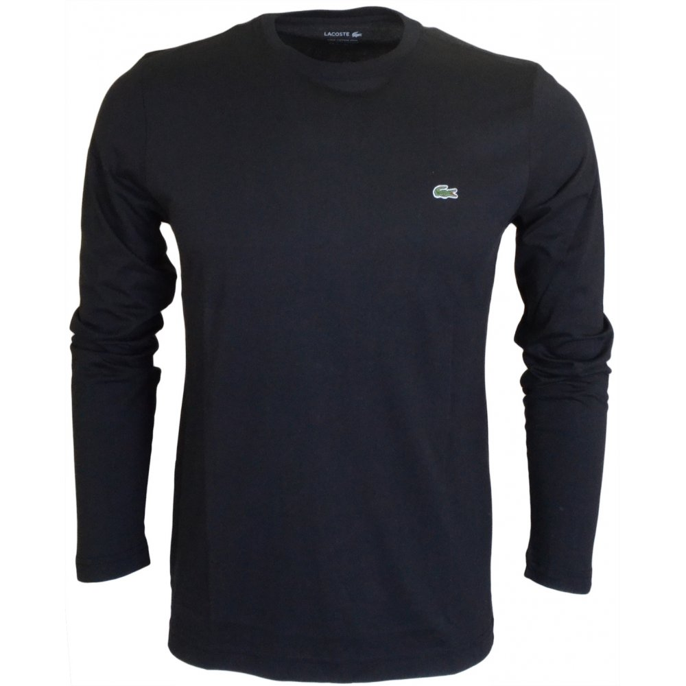 4a58d7c550b1 Lacoste Thin Plain Round Neck Long Sleeve Black T-Shirt - Clothing ...