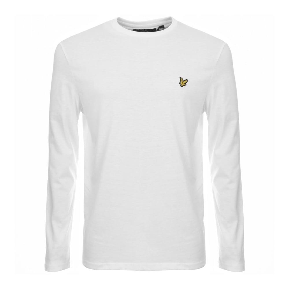 9558afbbc Lyle & Scott TS512V Round Neck Long Sleeve White T-Shirt - Clothing ...