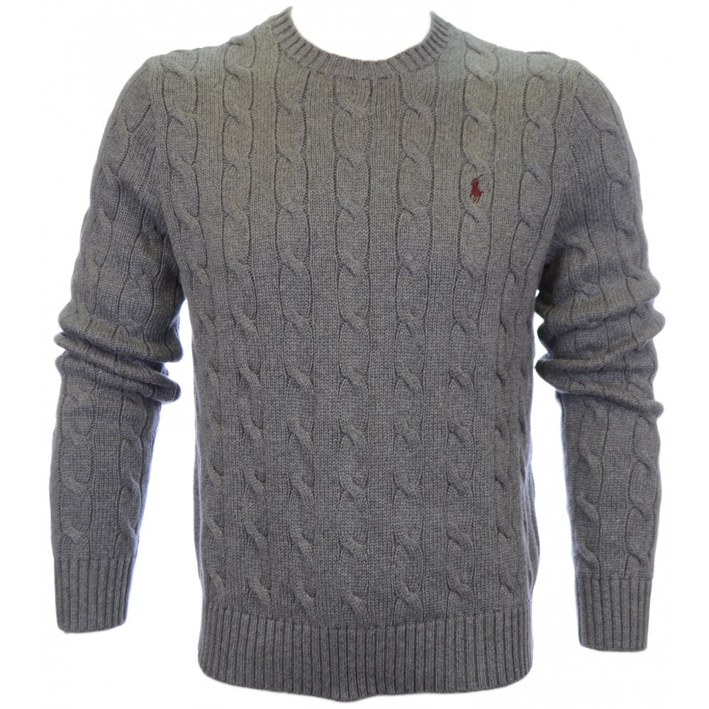 821db330e4da75 Polo Ralph Lauren Cable Knit Jumper Grey - Clothing from N22 Menswear UK