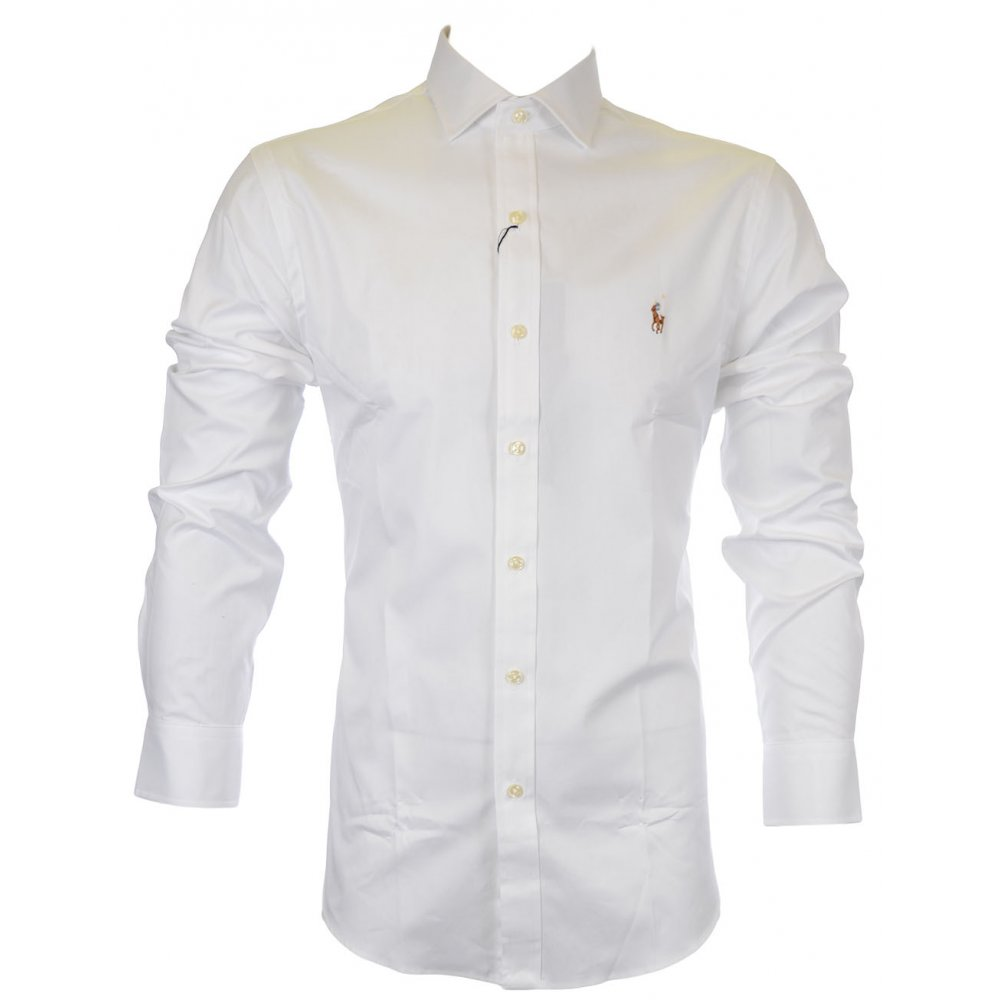 19a9e95cd0a9 Polo Ralph Lauren Estate Slim Fit Pinpoint Oxford Shirt in BSR White ...