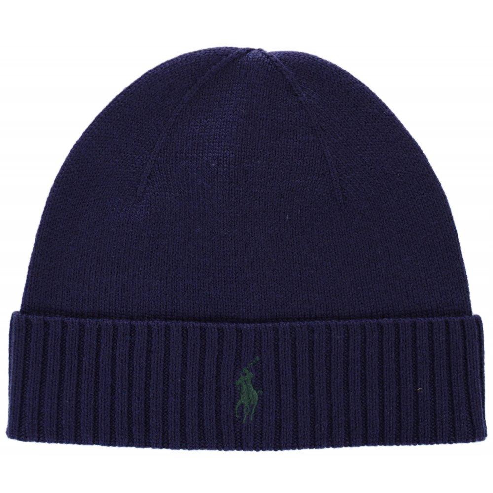 ffe8da4824e61 Polo Ralph Lauren Folded Merino Wool Hunter Navy Beanie Hat ...