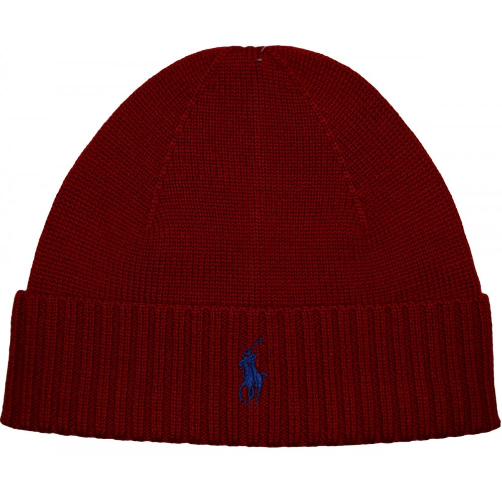 Polo Ralph Lauren Folded Merino Wool Tudor Red Beanie Hat ... f870fa53349