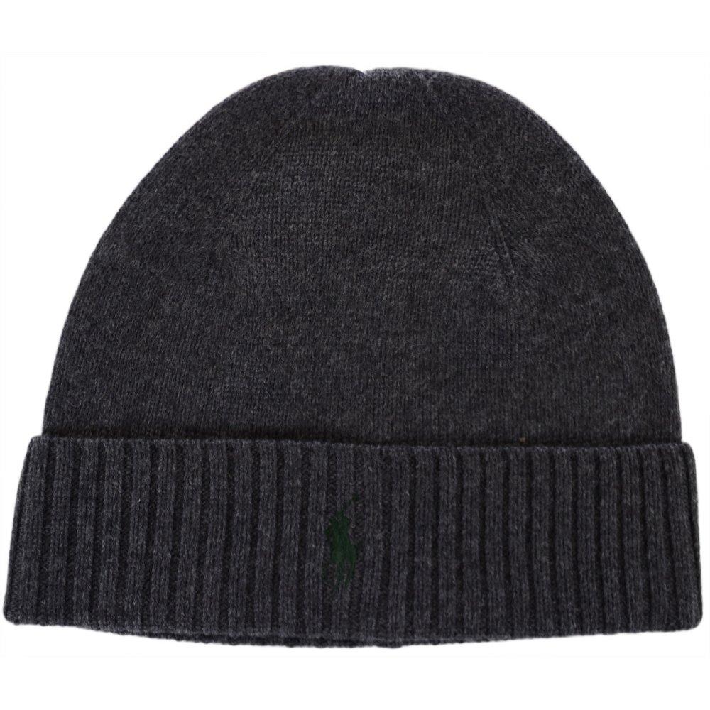 c9db8352d04 Polo Ralph Lauren Folded Merino Wool Windsor Dark Grey Beanie Hat ...