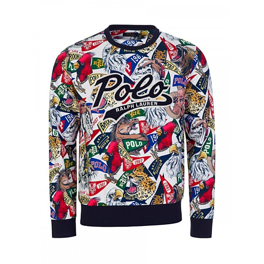 factory authentic bac98 7628c Polo Ralph Lauren Slim Fit All Over Logo Multicoloured Sweatshirt