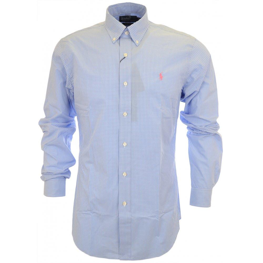 24950db2 Polo Ralph Lauren Slim Fit Dress Blue Check Poplin Blue/White Shirt