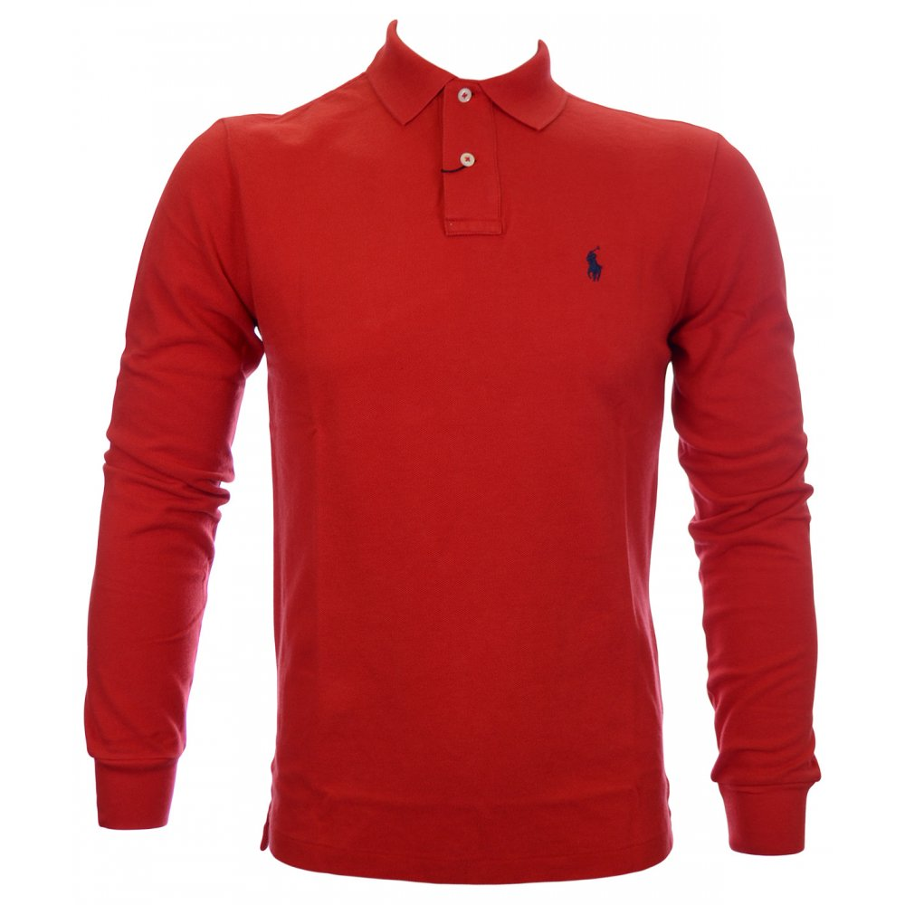 Red Fit Ralph Lauren Polo Shirt Full Sleeve Slim TJ1lFK3uc