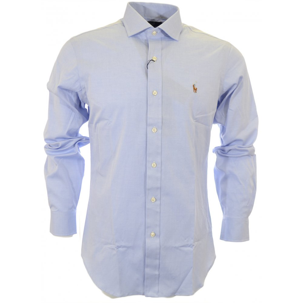 Polo Ralph Lauren Slim Fit Pinpoint Oxford Navy Shirt - Clothing ... 51ac2c73f453