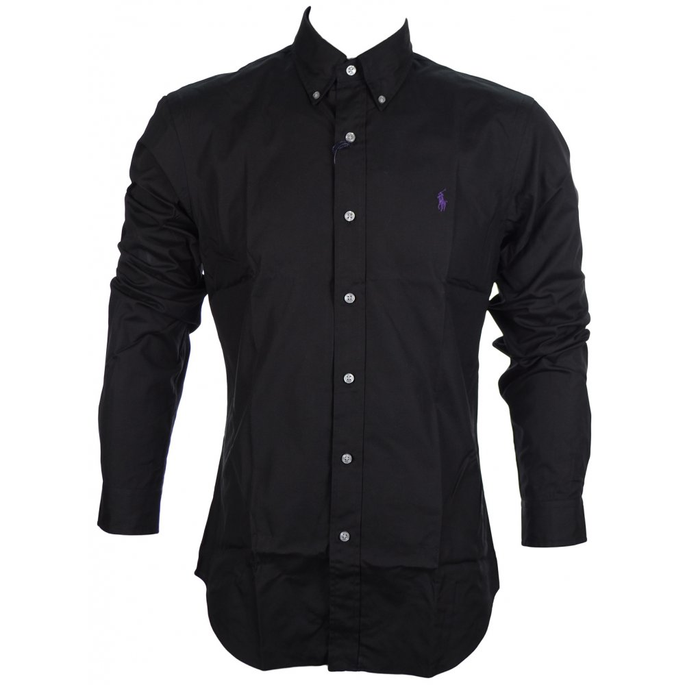 15ff27570496d0 Polo Ralph Lauren Slim Fit Solid Poplin Black Shirt - Clothing from ...