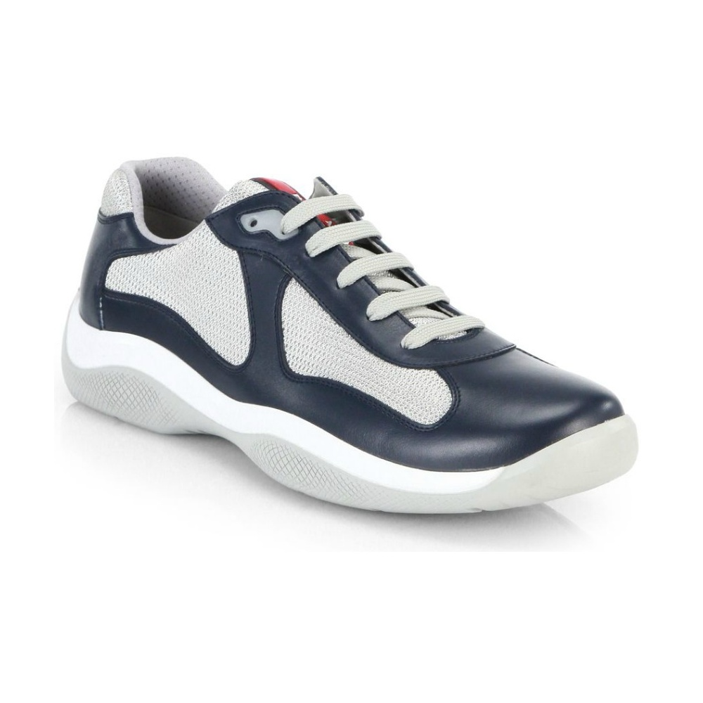 e221d560f547b Prada Leather America's Cup Mesh Navy Trainers - Footwear from N22 ...