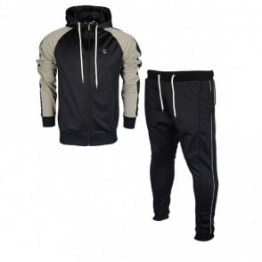 Duccio Polyester Zip Up Hooded Slim Fit Black Tracksuit