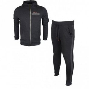 Erie Hart Cotton Zip Up Hooded Slim Fit Black Tracksuit