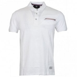 Felix Pique Zip Pocket Cotton White Polo