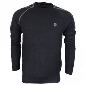 Nozzo Ribbed Cotton Black Jumper