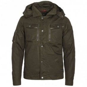 Rhyme Zip Hooded Lightweight Khaki Jacket