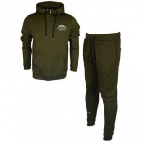 Salvi Polyester Zip Up Hooded Slim Fit Khaki Tracksuit