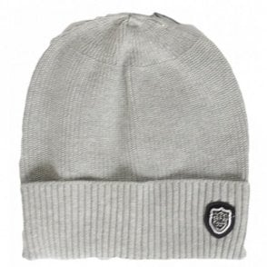 Sotto Ribbed Cotton Grey Beanie Hat