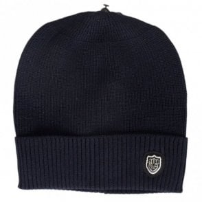 Sotto Ribbed Cotton Navy Beanie Hat