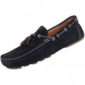 06593 Suede Tassel Navy Loafers