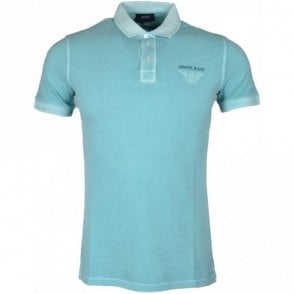 3Y6F03 Pique Cotton Slim Fit Turquoise Polo