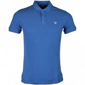 3Y6F06 Pique Cotton Slim Fit Blue Avio Polo