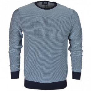 3Y6MB7 Round Neck Stripped Knit Blue Jumper