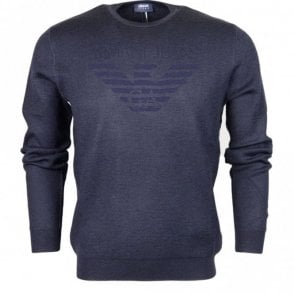 6Y6MD3 6MFJZ Round Neck Long Sleeve Navy Jumper