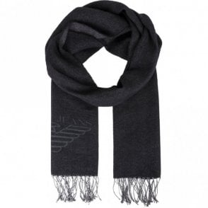 934102 7A714 Wool Eagle Logo Black Scarf