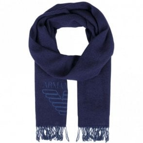 934102 7A714 Wool Eagle Logo Navy Scarf