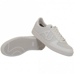 A6566 White Leather Trainer