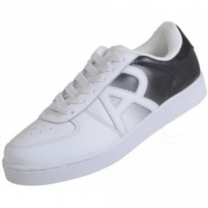 B6565 Two Tone Leather White/Black Trainer