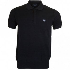 C6W18 Ribbed Black Polo