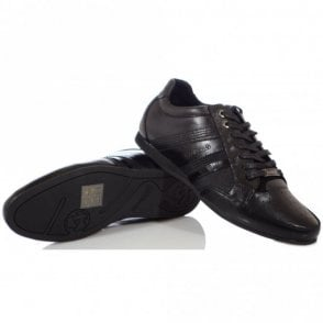 Asti Black Leather Trainer