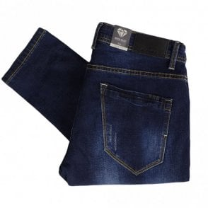 Jordi Dark Blue Patched Up Slim Fit Jeans