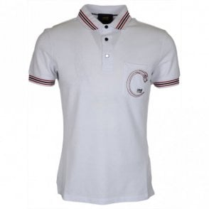 B3JRB713 Jersey Stretch Snake Logo White Polo