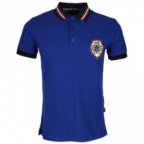 B3JRB714 Jersey Stretch Snake Logo Peacock Blue Polo