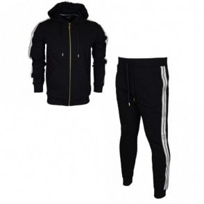 B7JRB785 Black/Gold Slim Fit Tracksuit