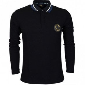 Jersey Cotton Black Long Sleeve Polo