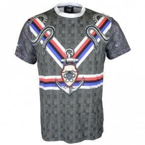 Jersey Stretch King Lion Vertical Lines Grey/Multicoloured T-Shirt