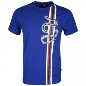 Jersey Stretch Snake Vertical Lines Peacock Blue T-Shirt
