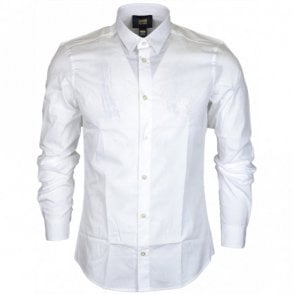 Popeline Embroidered Slim Fit White Cotton Shirt