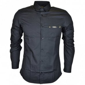Popeline Yuppie Slim Fit Black Cotton Shirt