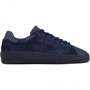 Joan Lace Up Snakeskin Navy Leather Trainer