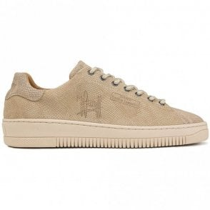 Joan Lace Up Snakeskin Nude Leather Trainer
