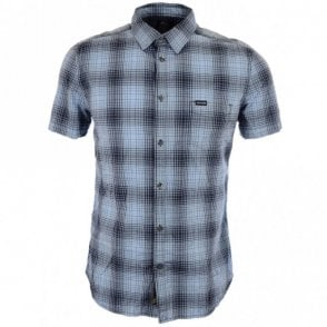 S Edith Checked Short Blue Shirt