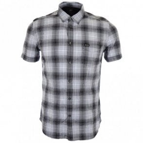 S Edith Checked Short White Shirt
