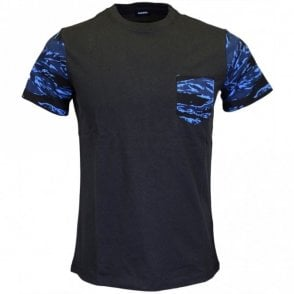 T-Diego-PKT Cotton Printed Camo Black T-Shirt