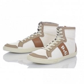High Top Trainers In Ecru Cream