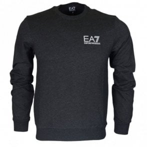 3ZPM52 Round Neck Cotton Charcoal Grey Sweatshirt